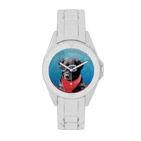 Cool Dog Black Lab Red Bandana Blue Goggles Wrist Watches