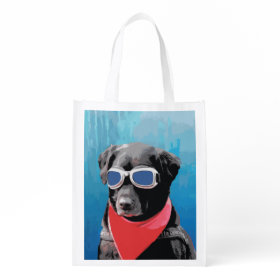 Cool Dog Black Lab Red Bandana Blue Goggles Grocery Bags