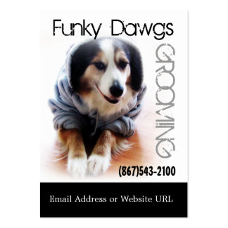 Cool Dog Grooming Aussie in Hoodie Large Business Card