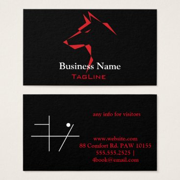 Lawyer Themed cool dog Red on Black Business Card