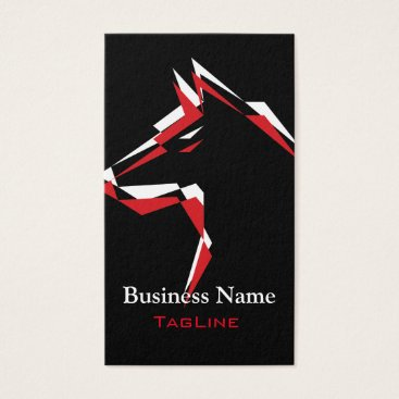 Professional Business cool dog Red White Business Card