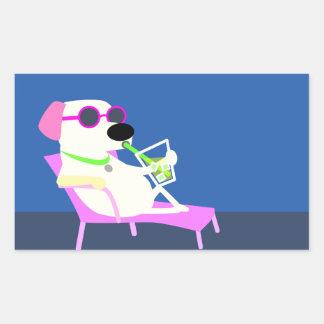 Cool Dog Sipping a Drink Rectangular Sticker