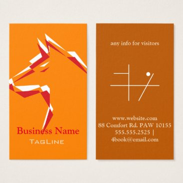 Professional Business cool dog White Red on Orange Business Card