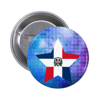 Cool Dominican Republic Flag Star 2 Inch Round Button