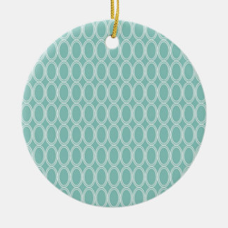 Cool Double Blue White Oval Pattern Fun Gifts Ceramic Ornament