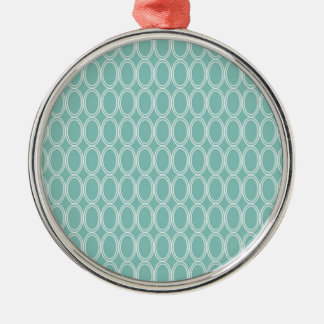 Cool Double Blue White Oval Pattern Fun Gifts Metal Ornament