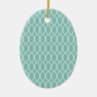 Cool Double Blue White Oval Pattern Fun Gifts Christmas Ornament