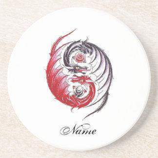 Cool Dragon Yin Yang tattoo Coaster