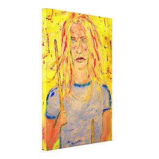 cool drummer girl upclose art canvas print