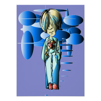 Cool Dude and Blue Ellipses Art Poster