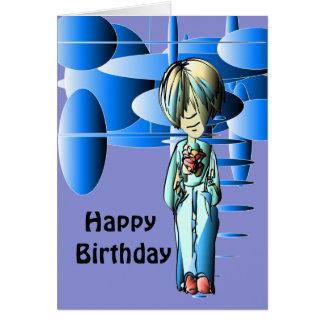 Cool Dude and Blue Ellipses Digital Art Card