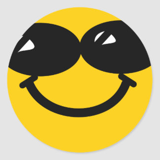 Cool dude smiley classic round sticker