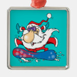 cool dude snowboarding santa claus christmas ornament