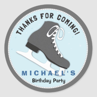 Cool Dudes Ice Skate Birthday Thank You Sticker