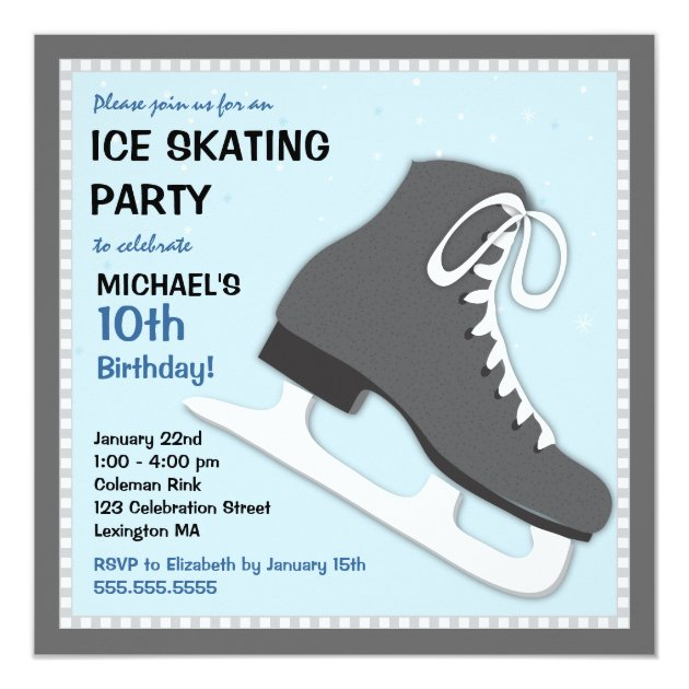 Cool Dudes Ice Skating Birthday Party Invitation | Zazzle.com