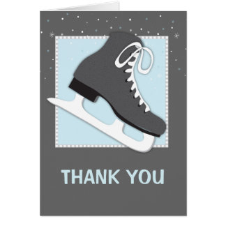 Cool Dudes Ice Skating Thank You Notecard Greeting Card