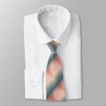 Cool Dusty Pink And Blue Striped Graphic Art Tie