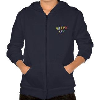 Cool Earth Day Custom Zip Hoodie Kids Navy Blue