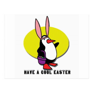 COOL EASTER BUNNY PENGUIN POSTCARD
