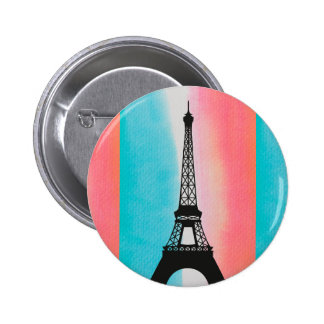 Cool Eiffel Tower Paris iron colourful background Pinback Buttons