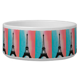 Cool Eiffel Tower Paris iron colourful background Pet Water Bowl