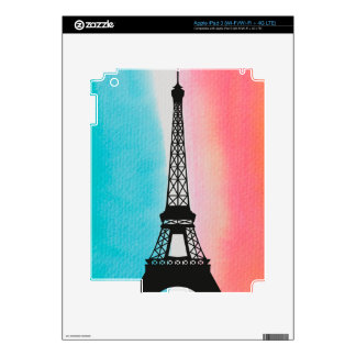 Cool Eiffel Tower Paris iron colourful background Decal For iPad 3