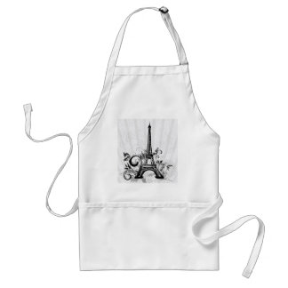 Cool Eiffel Tower swirls dots splatters butterfly Adult Apron