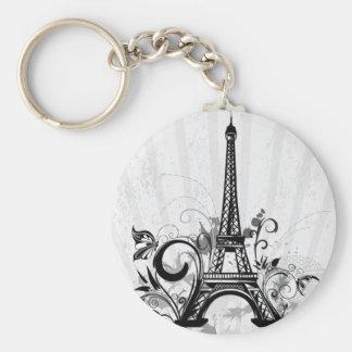 Cool Eiffel Tower swirls dots splatters butterfly Basic Round Button Keychain
