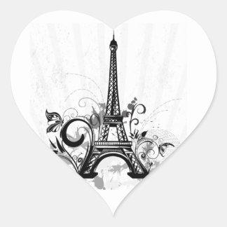 Cool Eiffel Tower swirls dots splatters butterfly Heart Sticker