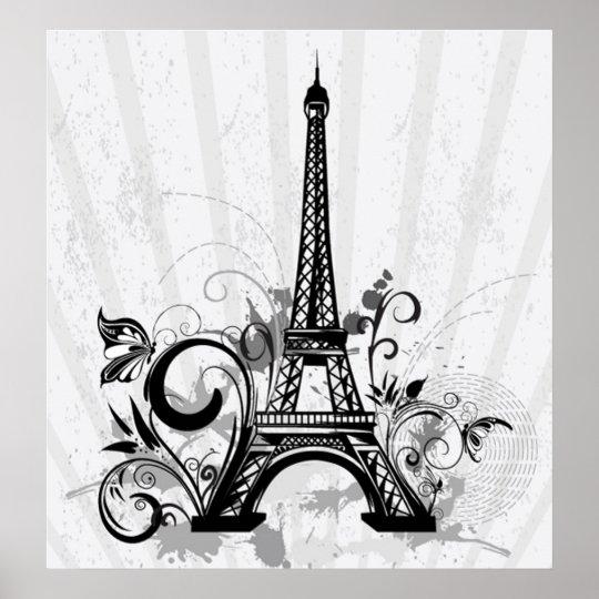 Cool Eiffel Tower swirls dots splatters butterfly Poster