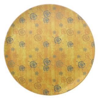 Cool elegant abstract pattern  orange sun  plate