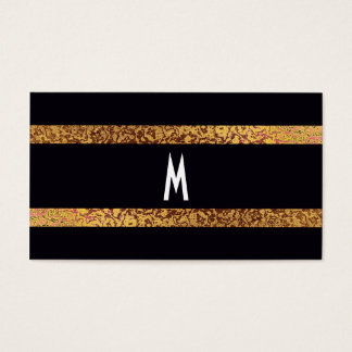 Cool Elegant Black/Gold Modern Retro Save-the-Date Business Card