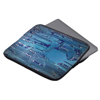 Cool Elegant Blue Computer Circuit Board Laptop Sleeve