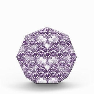 Cool Elegant Distressed Purple Lace Damask Pattern Acrylic Award