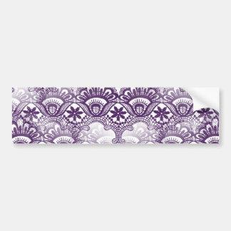 Cool Elegant Distressed Purple Lace Damask Pattern Bumper Stickers