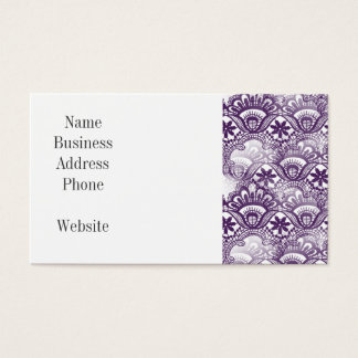 Cool Elegant Distressed Purple Lace Damask Pattern Business Card