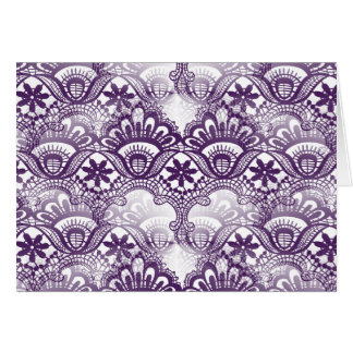 Cool Elegant Distressed Purple Lace Damask Pattern Stationery Note Card