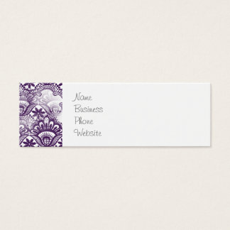 Cool Elegant Distressed Purple Lace Damask Pattern Mini Business Card