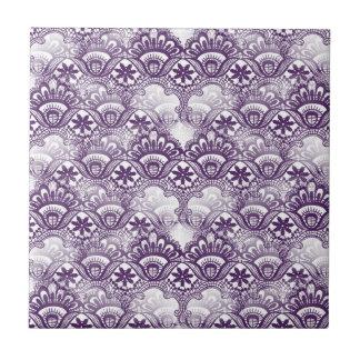Cool Elegant Distressed Purple Lace Damask Pattern Small Square Tile