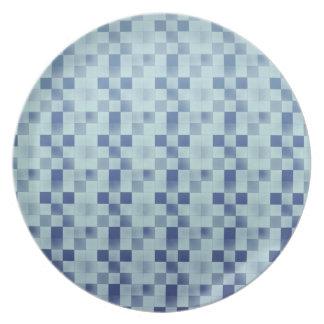 Cool elegant retro patchwork blue plate