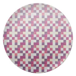 Cool elegant retro patchwork pink plate