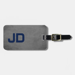 Cool Elegant Texture Grey Blue Monogram Bag Tag