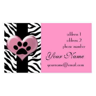 cool elegant zebra paw print Double-Sided standard business cards (Pack of 100)