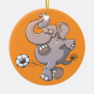 Cool elephant executing a stunt with a soccer ball ceramic ornament
