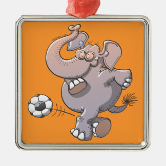Cool elephant executing a stunt with a soccer ball metal ornament