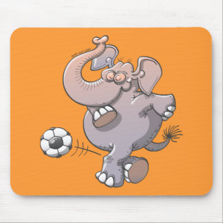 Cool elephant executing a stunt with a soccer ball mouse pad