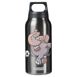 Cool elephant executing a stunt with a soccer ball thermos water bottle