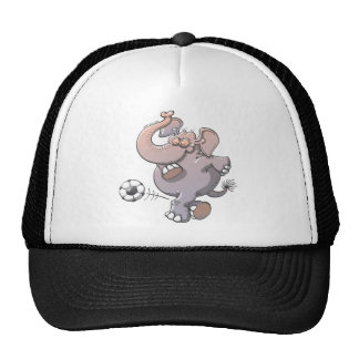 Cool elephant executing a stunt with a soccer ball trucker hat