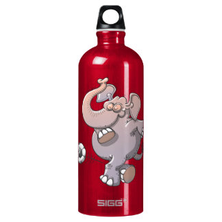 Cool elephant executing a stunt with a soccer ball water bottle