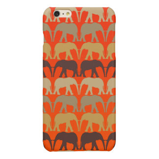 Cool Elephants Pattern On Sunset Orange Glossy iPhone 6 Plus Case